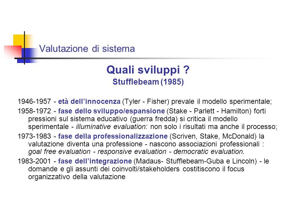Valutazione di sistema - il modello prospettivista - della qualità Goal free evaluation M.Scriven 1992 Chi valuta non può essere neutrale Gli obiettivi sono alibi La valutazione è un giudizio di valore