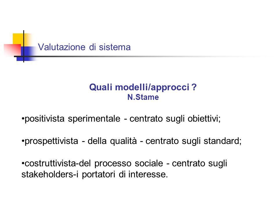 Valutazione di sistema - il modello prospettivista - della qualità Le critiche: Come si fissano gli standard .