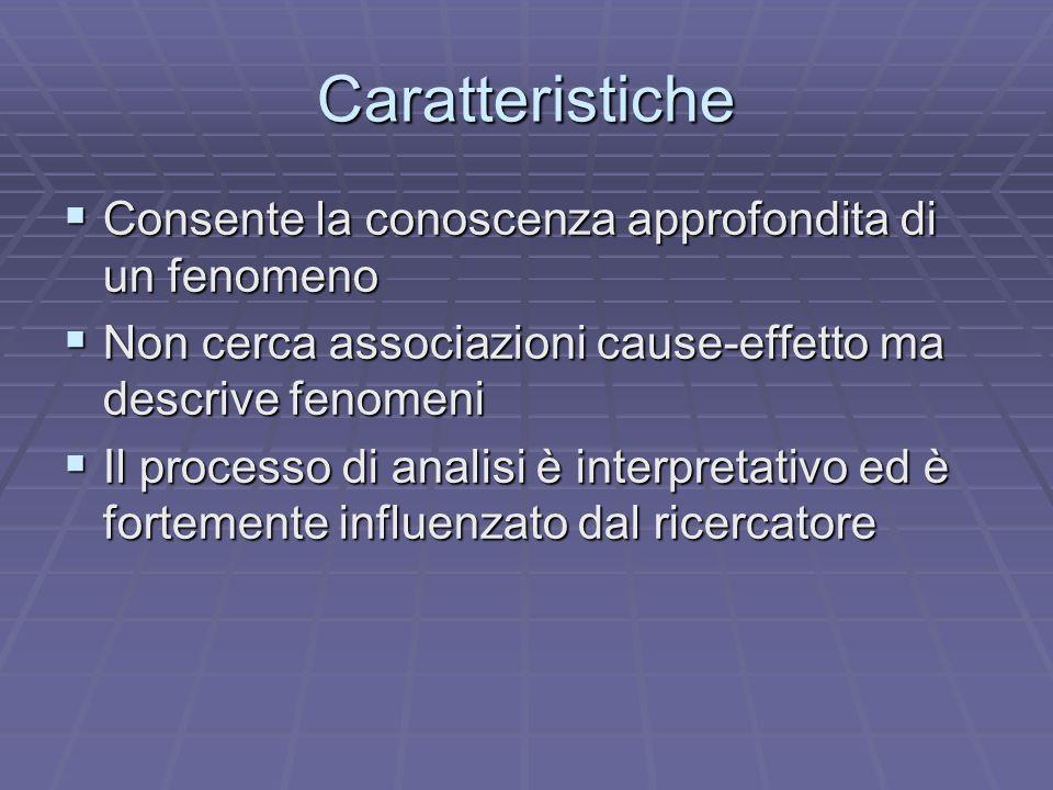 Caratteristiche Consente la conoscenza approfondita di un fenomeno Consente la conoscenza approfondita di un fenomeno Non cerca associazioni cause-eff