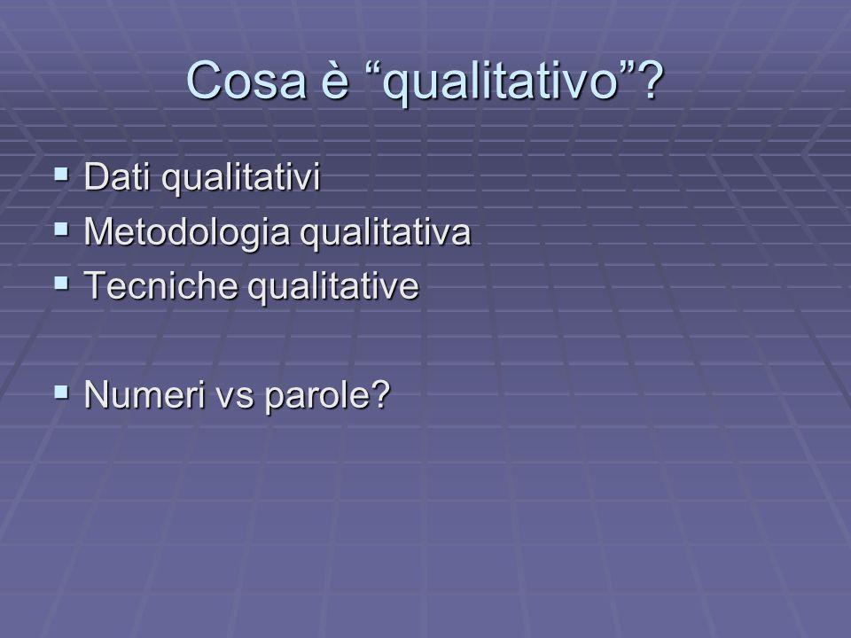 Cosa è qualitativo? Dati qualitativi Dati qualitativi Metodologia qualitativa Metodologia qualitativa Tecniche qualitative Tecniche qualitative Numeri