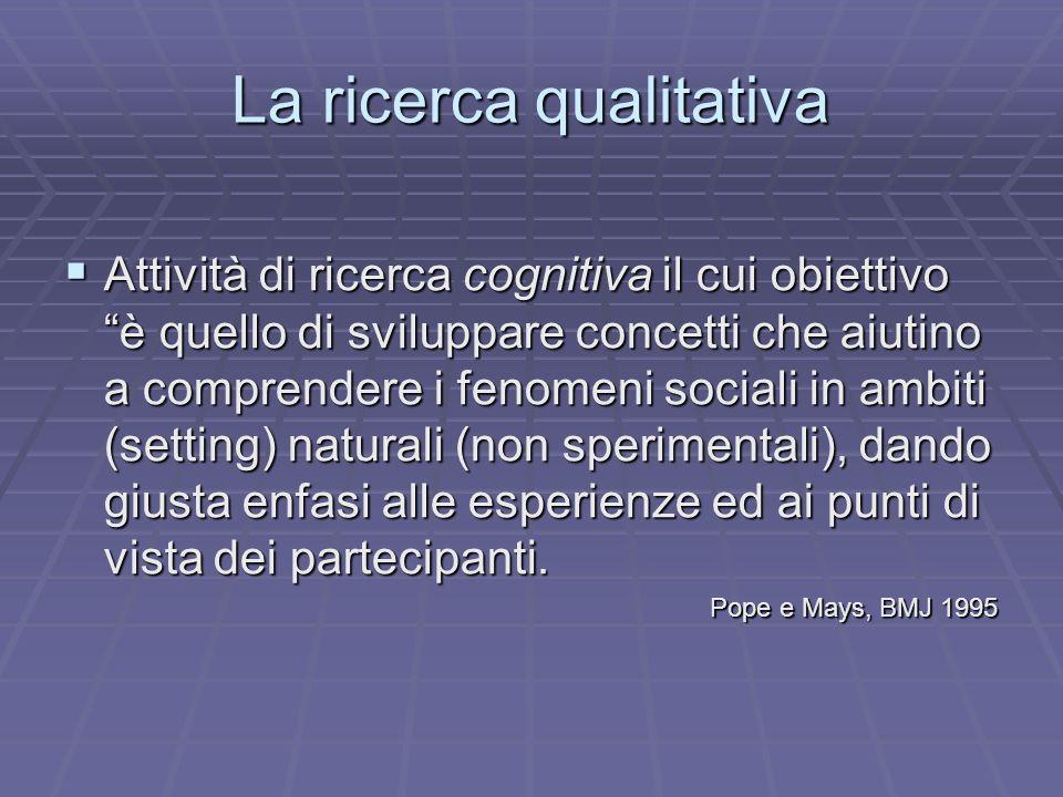 La ricerca qualitativa Attività di ricerca cognitiva il cui obiettivo è quello di sviluppare concetti che aiutino a comprendere i fenomeni sociali in