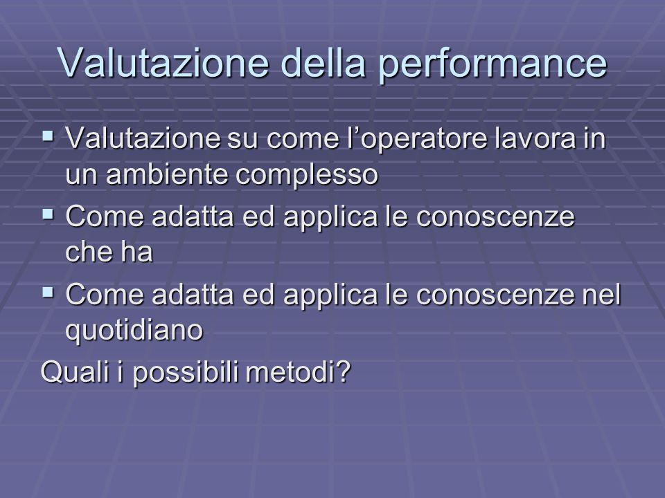 Valutazione della performance Valutazione su come loperatore lavora in un ambiente complesso Valutazione su come loperatore lavora in un ambiente comp