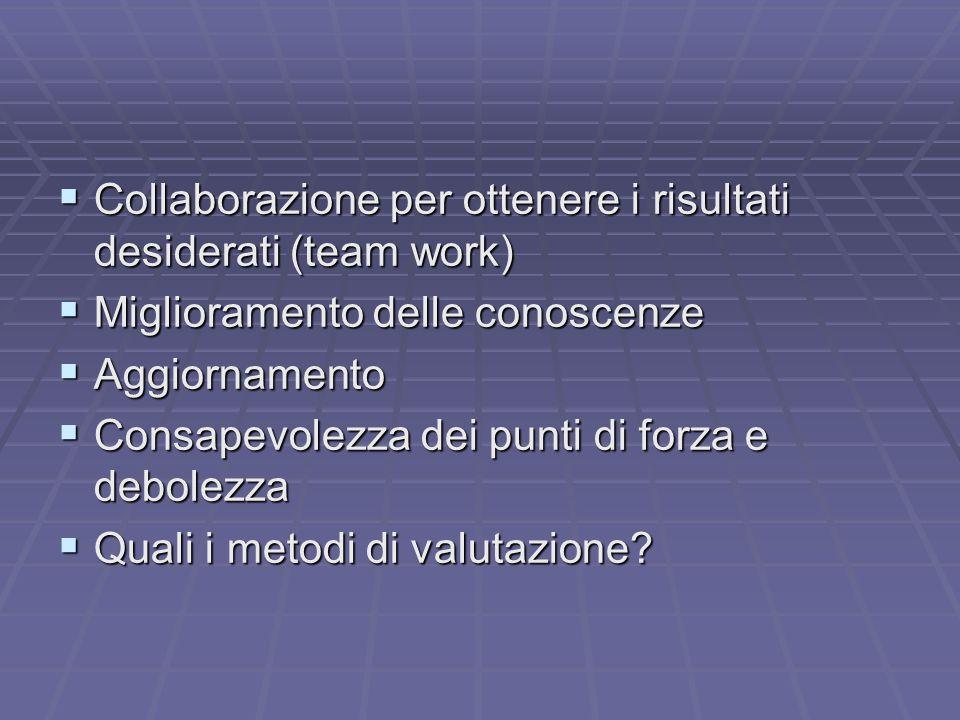 Collaborazione per ottenere i risultati desiderati (team work) Collaborazione per ottenere i risultati desiderati (team work) Miglioramento delle cono