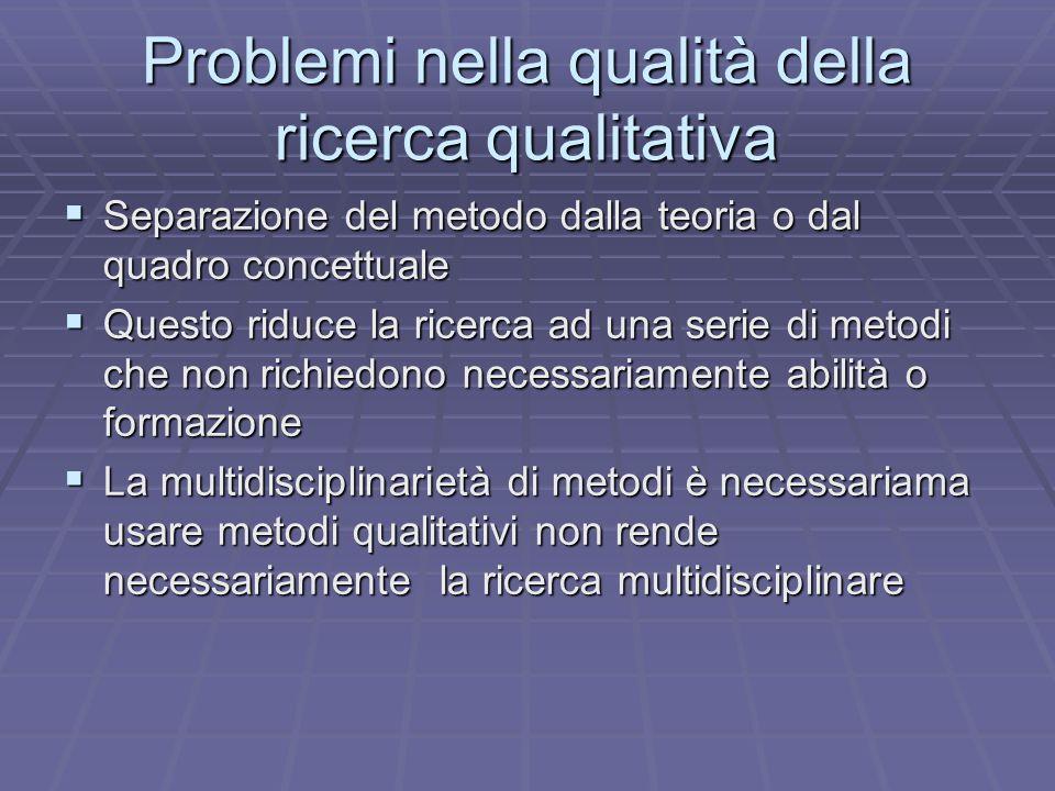 Problemi nella qualità della ricerca qualitativa Separazione del metodo dalla teoria o dal quadro concettuale Separazione del metodo dalla teoria o da