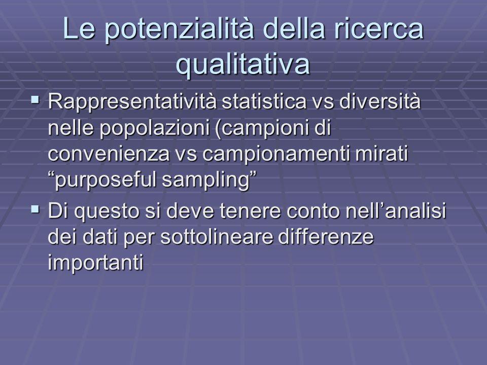 Le potenzialità della ricerca qualitativa Rappresentatività statistica vs diversità nelle popolazioni (campioni di convenienza vs campionamenti mirati