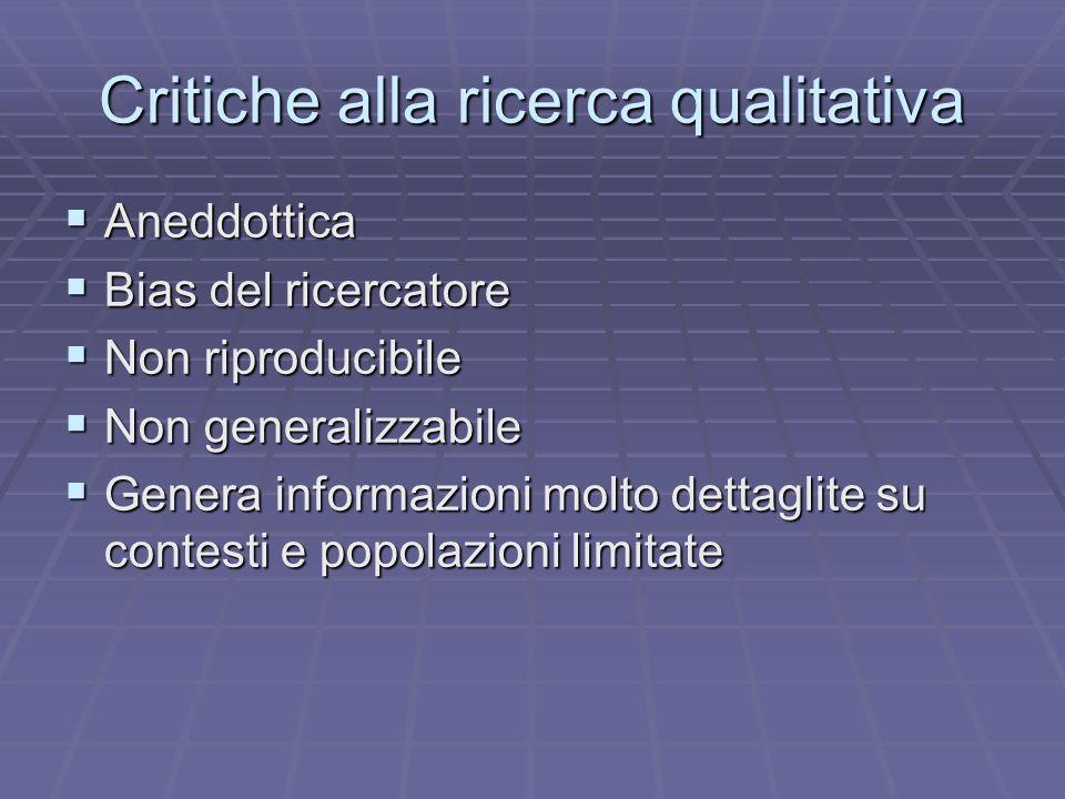 Critiche alla ricerca qualitativa Aneddottica Aneddottica Bias del ricercatore Bias del ricercatore Non riproducibile Non riproducibile Non generalizz