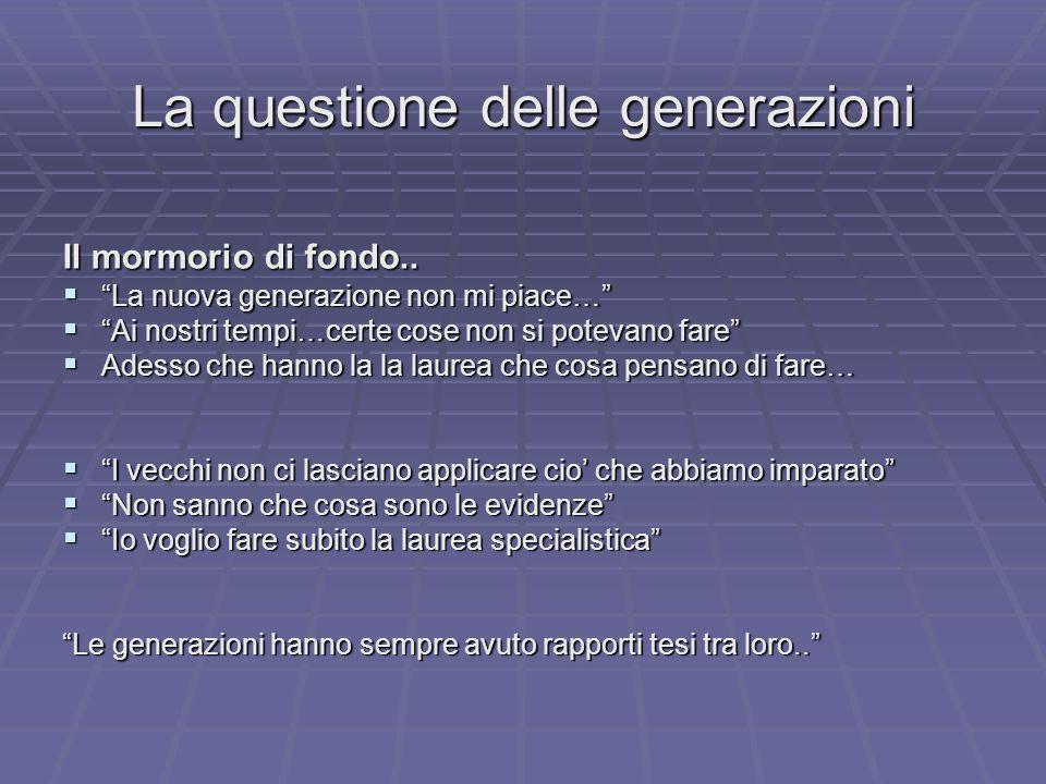 La questione delle generazioni Il mormorio di fondo.. La nuova generazione non mi piace… La nuova generazione non mi piace… Ai nostri tempi…certe cose