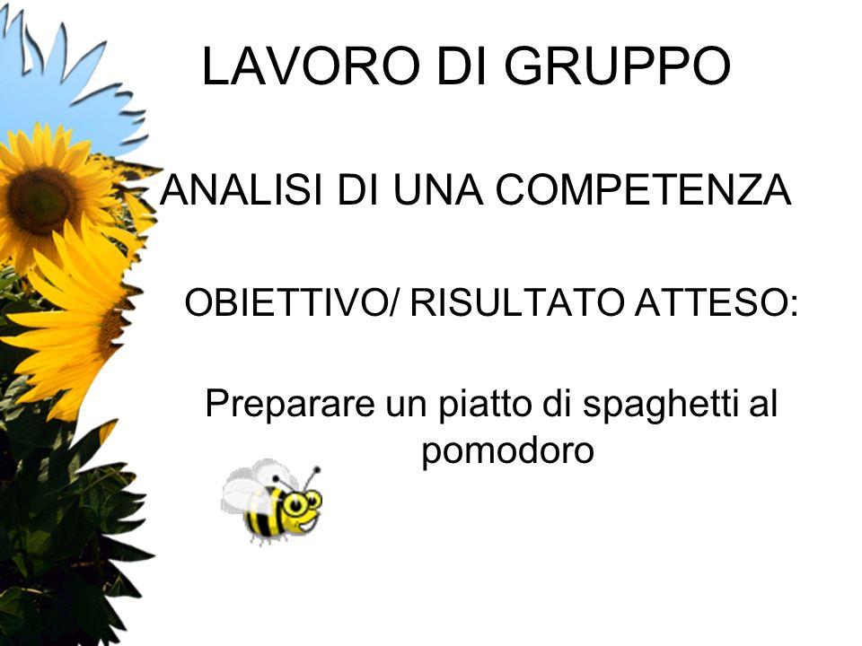 LAVORO DI GRUPPO ANALISI DI UNA COMPETENZA OBIETTIVO/ RISULTATO ATTESO: Preparare un piatto di spaghetti al pomodoro