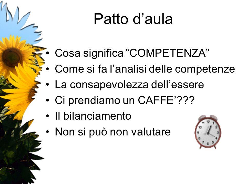 Patto daula Cosa significa COMPETENZA Come si fa lanalisi delle competenze La consapevolezza dellessere Ci prendiamo un CAFFE??? Il bilanciamento Non