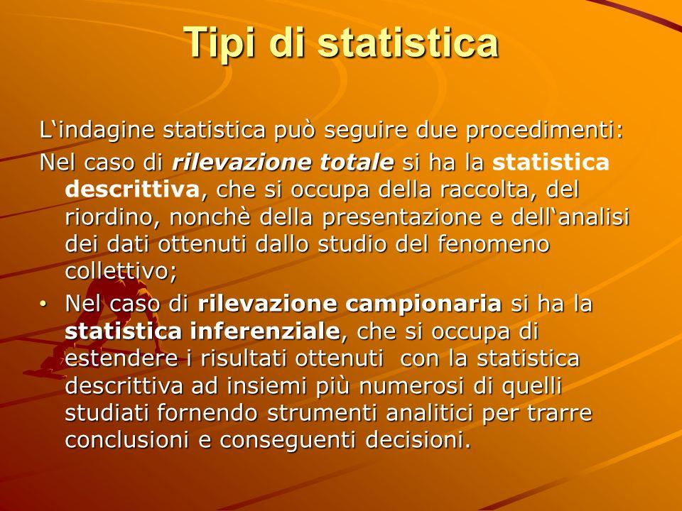 Tipi di statistica Lindagine statistica può seguire due procedimenti: Nel caso di rilevazione totale si ha la, che si occupa della raccolta, del riord