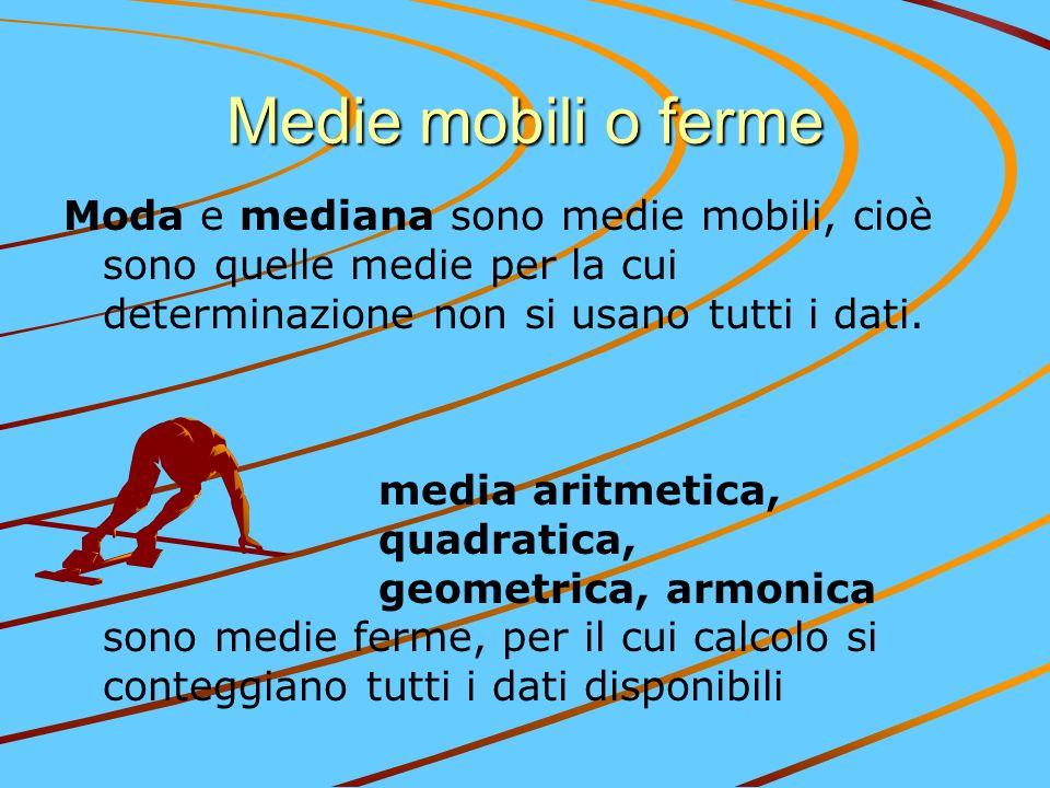 Medie mobili o ferme Moda e mediana sono medie mobili, cioè sono quelle medie per la cui determinazione non si usano tutti i dati. media aritmetica, q