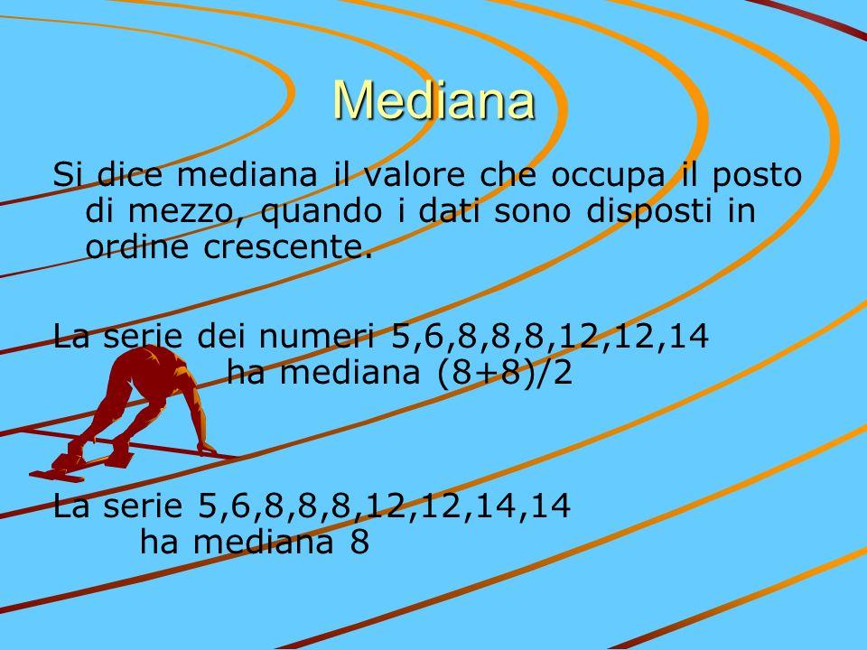 Mediana Si dice mediana il valore che occupa il posto di mezzo, quando i dati sono disposti in ordine crescente. La serie dei numeri 5,6,8,8,8,12,12,1