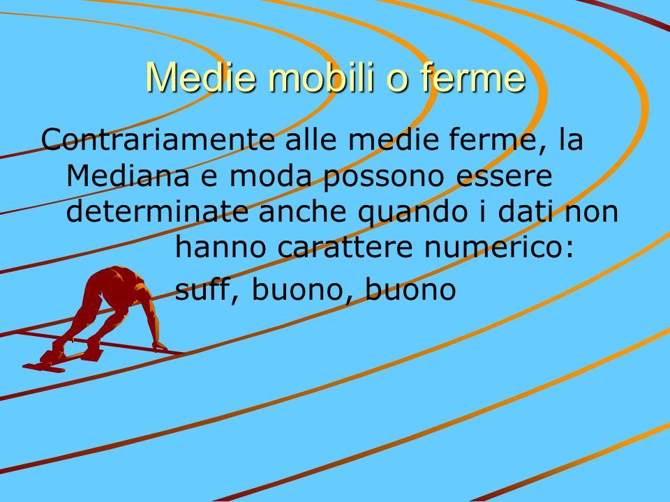 Medie mobili o ferme Contrariamente alle medie ferme, la Mediana e moda possono essere determinate anche quando i dati non hanno carattere numerico: s