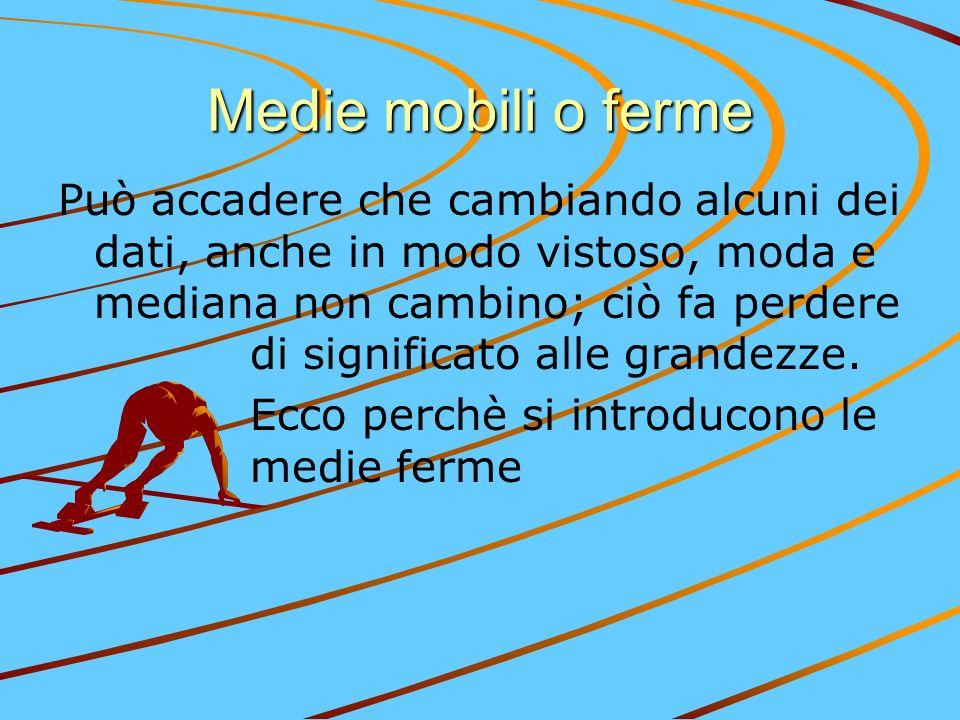 Medie mobili o ferme Può accadere che cambiando alcuni dei dati, anche in modo vistoso, moda e mediana non cambino; ciò fa perdere di significato alle