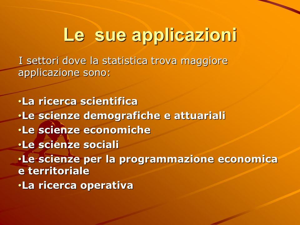 Le sue applicazioni I settori dove la statistica trova maggiore applicazione sono: La ricerca scientifica La ricerca scientifica Le scienze demografic