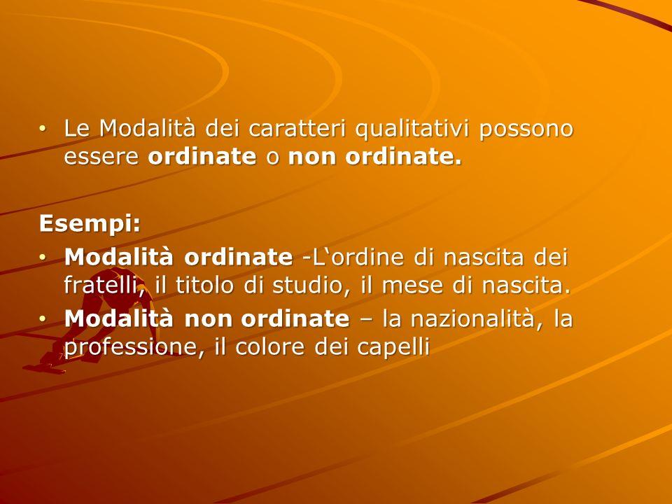 Le Modalità dei caratteri qualitativi possono essere ordinate o non ordinate. Le Modalità dei caratteri qualitativi possono essere ordinate o non ordi