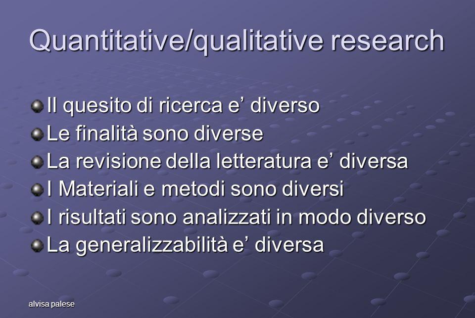 alvisa palese Quantitative/qualitative research Il quesito di ricerca e diverso Le finalità sono diverse La revisione della letteratura e diversa I Ma