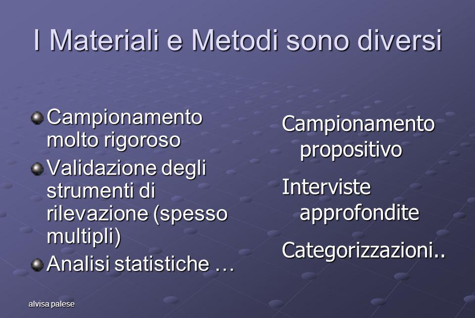 alvisa palese I Materiali e Metodi sono diversi Campionamento molto rigoroso Validazione degli strumenti di rilevazione (spesso multipli) Analisi stat