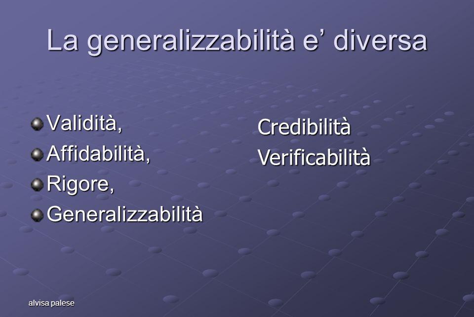 alvisa palese La generalizzabilità e diversa Validità,Affidabilità,Rigore,Generalizzabilità CredibilitàVerificabilità