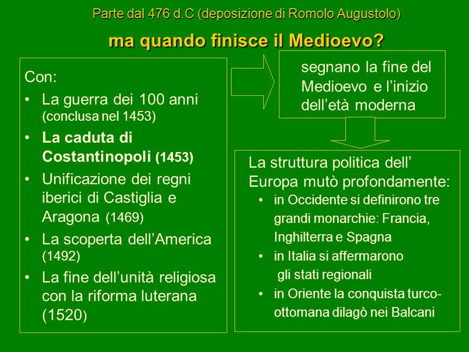 Parte dal 476 d.C (deposizione di Romolo Augustolo) ma quando finisce il Medioevo? Con: La guerra dei 100 anni (conclusa nel 1453) La caduta di Costan