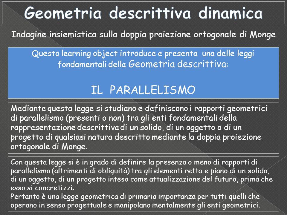 Indagine insiemistica sulla doppia proiezione ortogonale di Monge Questo learning object introduce e presenta una delle leggi fondamentali della Geome