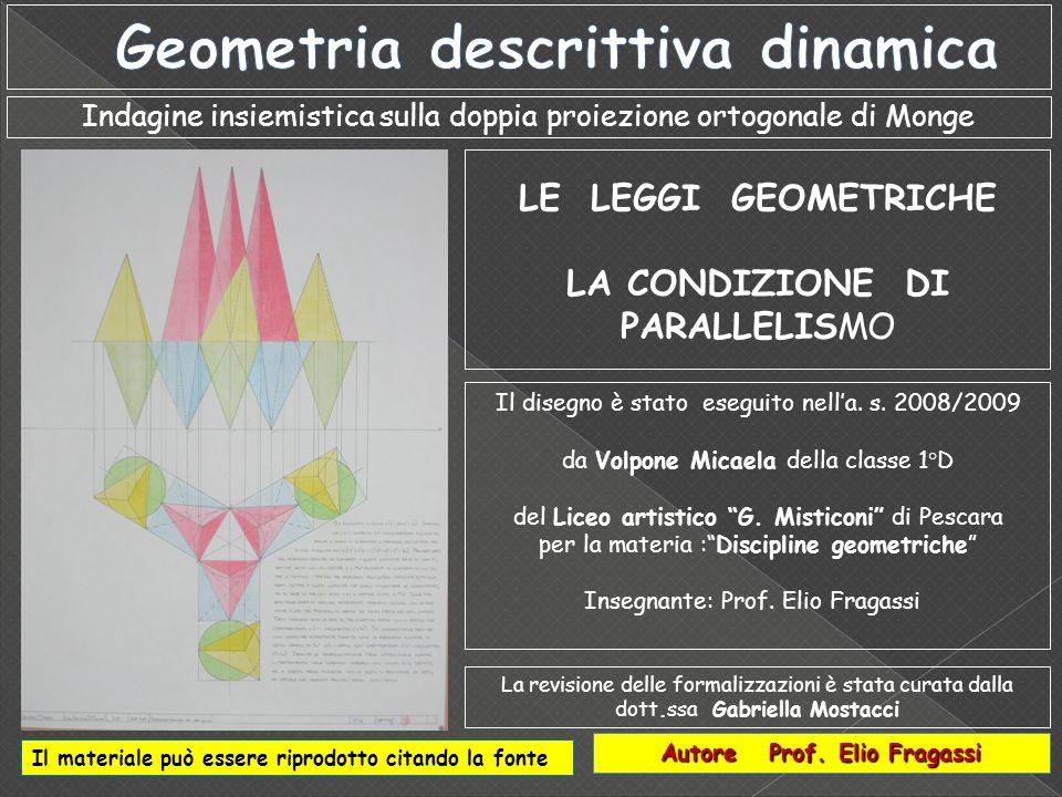 Indagine insiemistica sulla doppia proiezione ortogonale di Monge Autore Prof. Elio Fragassi Il materiale può essere riprodotto citando la fonte Il di