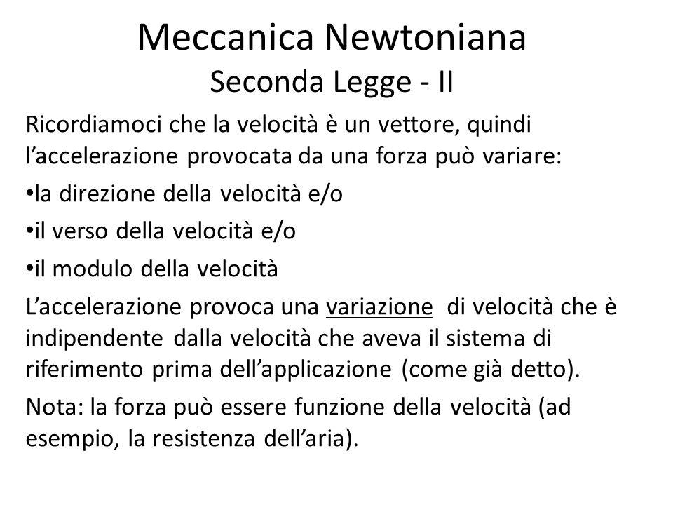 Meccanica Newtoniana Seconda Legge - II Ricordiamoci che la velocità è un vettore, quindi laccelerazione provocata da una forza può variare: la direzi