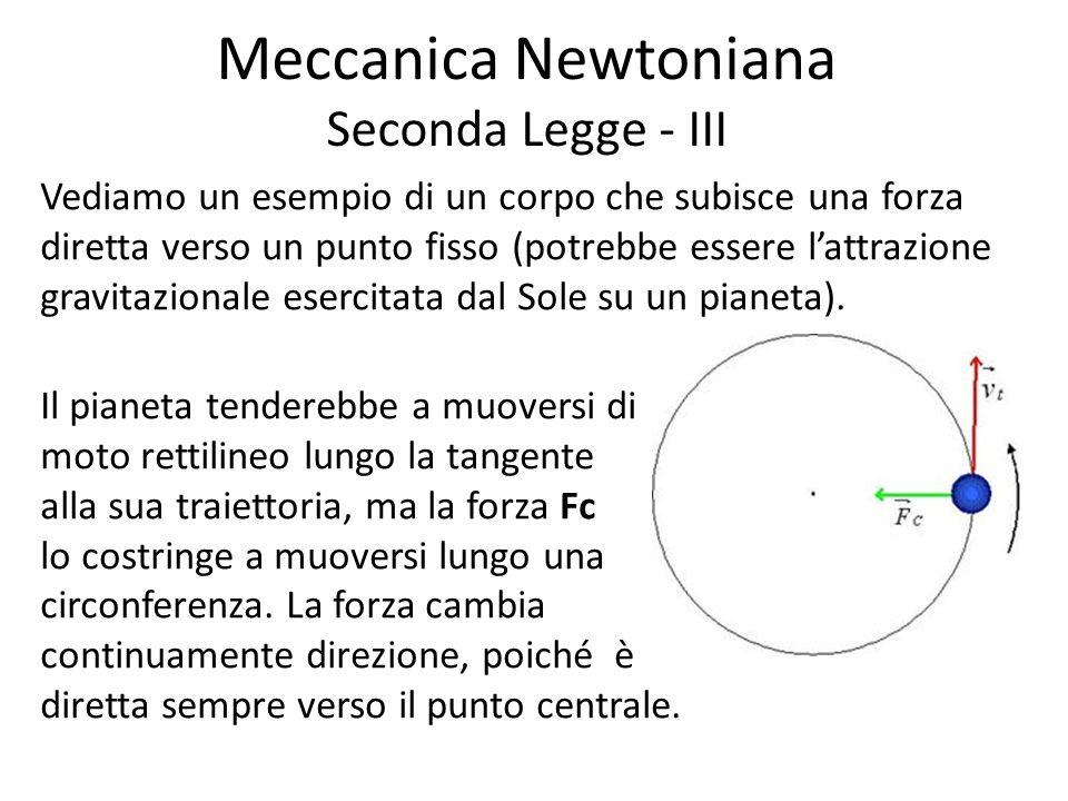 Meccanica Newtoniana Seconda Legge - III Vediamo un esempio di un corpo che subisce una forza diretta verso un punto fisso (potrebbe essere lattrazione gravitazionale esercitata dal Sole su un pianeta).