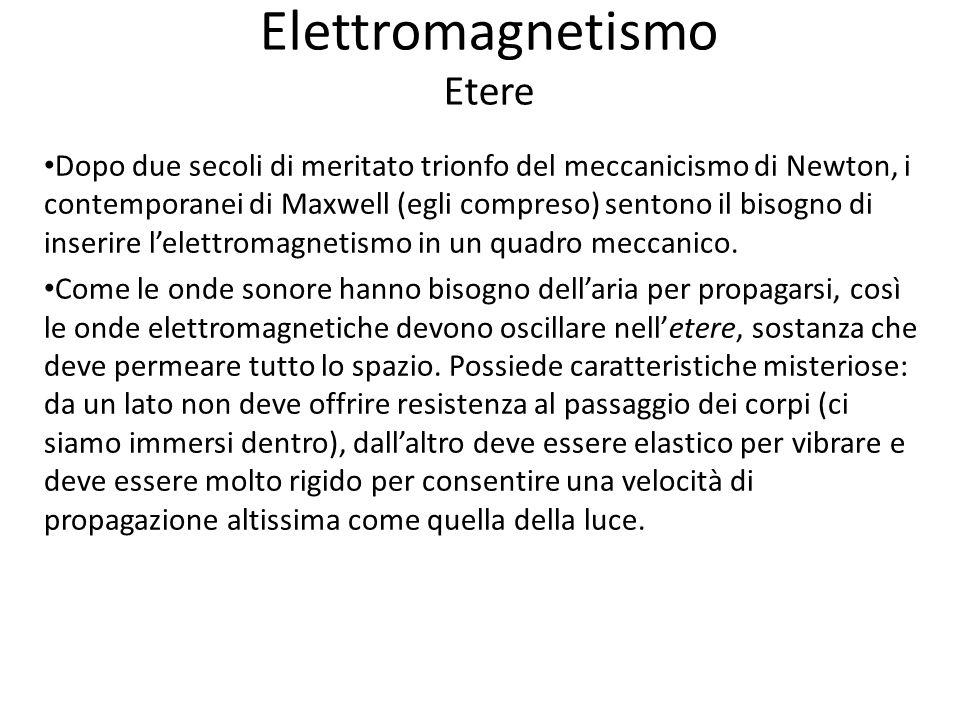 Elettromagnetismo Etere Dopo due secoli di meritato trionfo del meccanicismo di Newton, i contemporanei di Maxwell (egli compreso) sentono il bisogno di inserire lelettromagnetismo in un quadro meccanico.