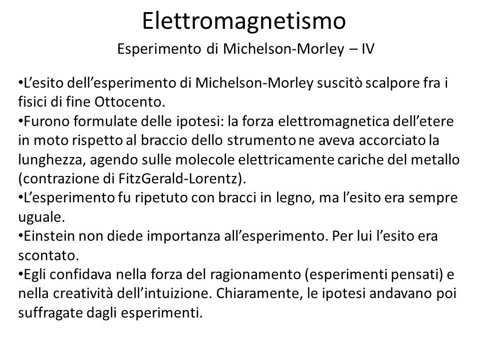 Elettromagnetismo Esperimento di Michelson-Morley – IV Lesito dellesperimento di Michelson-Morley suscitò scalpore fra i fisici di fine Ottocento.