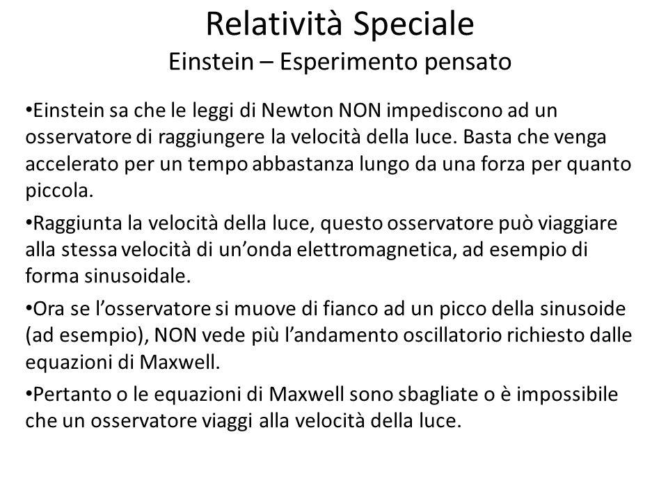 Relatività Speciale Einstein – Esperimento pensato Einstein sa che le leggi di Newton NON impediscono ad un osservatore di raggiungere la velocità del
