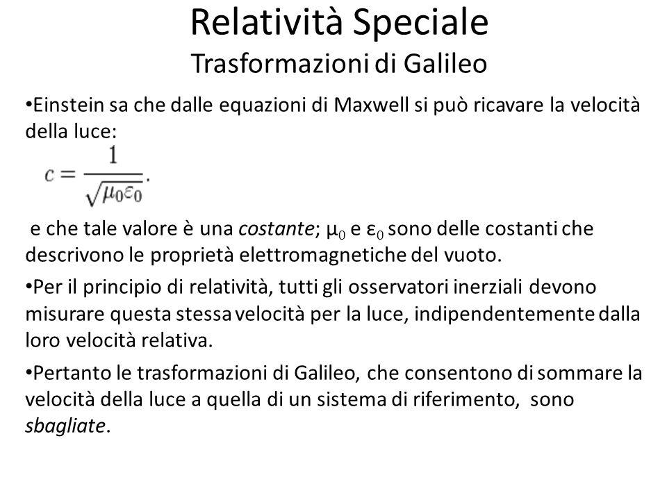 Relatività Speciale Trasformazioni di Galileo Einstein sa che dalle equazioni di Maxwell si può ricavare la velocità della luce: e che tale valore è una costante; μ 0 e ε 0 sono delle costanti che descrivono le proprietà elettromagnetiche del vuoto.