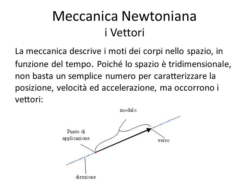 Meccanica Newtoniana i Vettori La meccanica descrive i moti dei corpi nello spazio, in funzione del tempo. Poiché lo spazio è tridimensionale, non bas