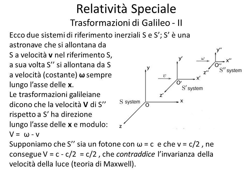 Relatività Speciale Trasformazioni di Galileo - II Ecco due sistemi di riferimento inerziali S e S; S è una astronave che si allontana da S a velocità v nel riferimento S, a sua volta S si allontana da S a velocità (costante) ω sempre lungo lasse delle x.