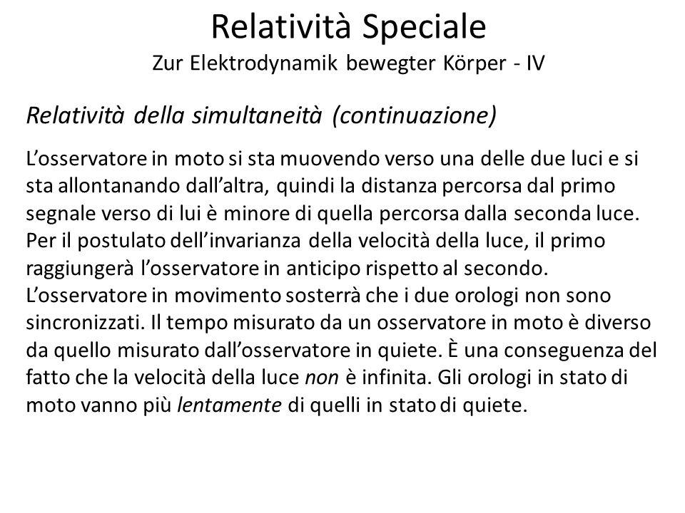 Relatività Speciale Zur Elektrodynamik bewegter Körper - IV Relatività della simultaneità (continuazione) Losservatore in moto si sta muovendo verso u