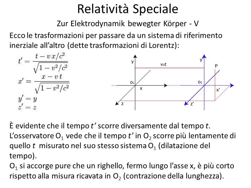 Relatività Speciale Zur Elektrodynamik bewegter Körper - V Ecco le trasformazioni per passare da un sistema di riferimento inerziale allaltro (dette trasformazioni di Lorentz): È evidente che il tempo t scorre diversamente dal tempo t.