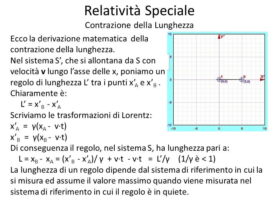 Relatività Speciale Contrazione della Lunghezza Ecco la derivazione matematica della contrazione della lunghezza.