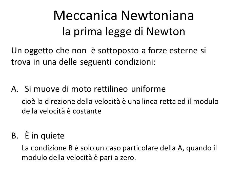 Meccanica Newtoniana la prima legge di Newton Un oggetto che non è sottoposto a forze esterne si trova in una delle seguenti condizioni: A.Si muove di