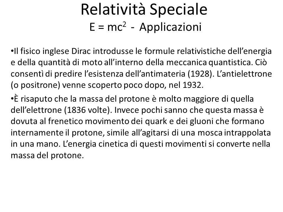 Relatività Speciale E = mc 2 - Applicazioni Il fisico inglese Dirac introdusse le formule relativistiche dellenergia e della quantità di moto allinterno della meccanica quantistica.