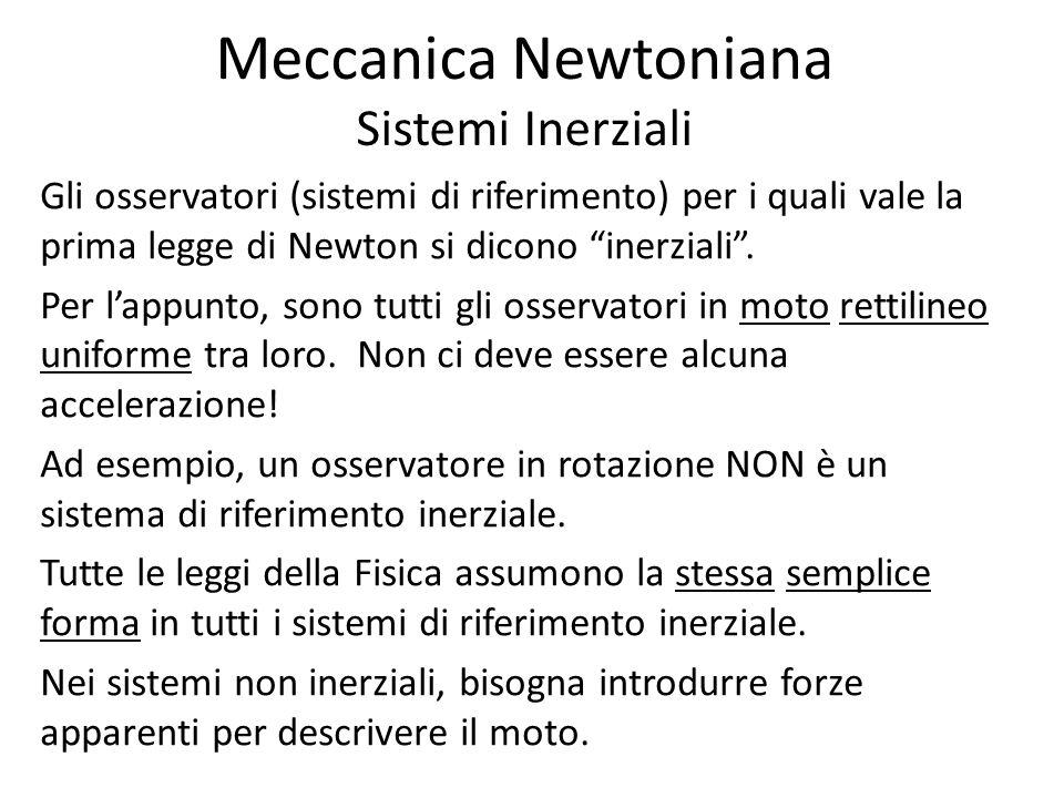 Meccanica Newtoniana Sistemi Inerziali Gli osservatori (sistemi di riferimento) per i quali vale la prima legge di Newton si dicono inerziali. Per lap