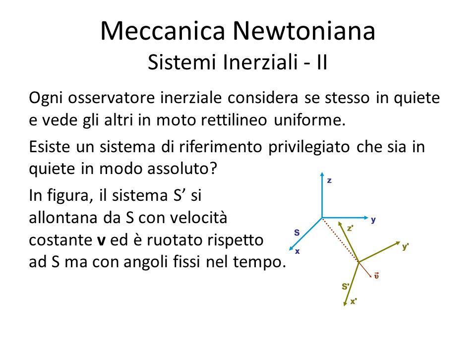 Meccanica Newtoniana Sistemi Inerziali - II Ogni osservatore inerziale considera se stesso in quiete e vede gli altri in moto rettilineo uniforme.