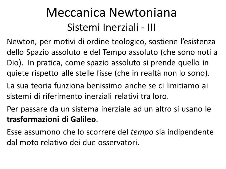 Meccanica Newtoniana Sistemi Inerziali - III Newton, per motivi di ordine teologico, sostiene lesistenza dello Spazio assoluto e del Tempo assoluto (c
