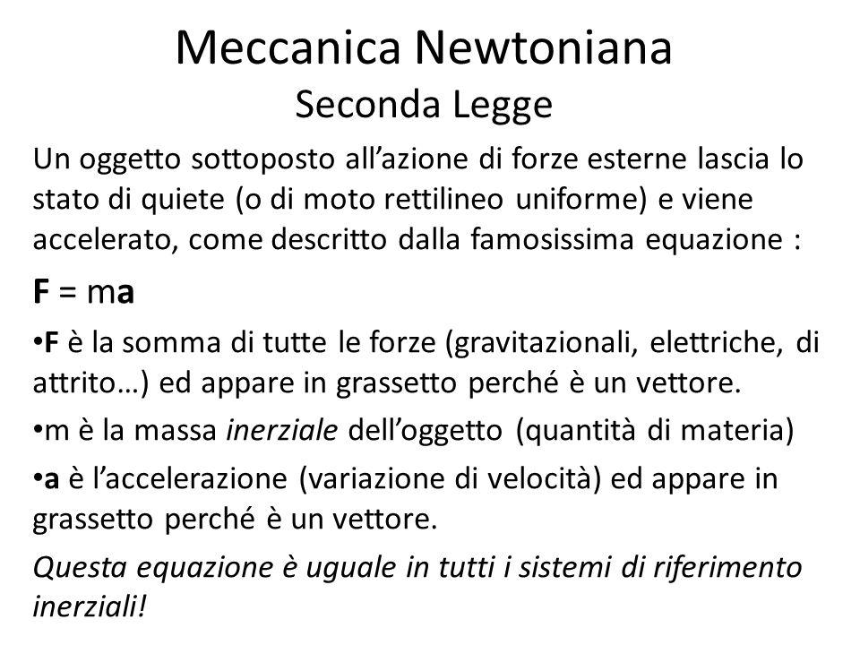 Meccanica Newtoniana Seconda Legge Un oggetto sottoposto allazione di forze esterne lascia lo stato di quiete (o di moto rettilineo uniforme) e viene accelerato, come descritto dalla famosissima equazione : F = ma F è la somma di tutte le forze (gravitazionali, elettriche, di attrito…) ed appare in grassetto perché è un vettore.