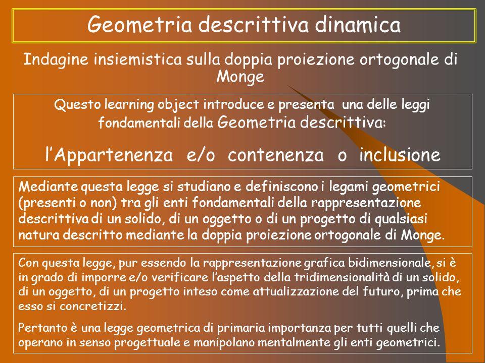 Geometria descrittiva dinamica Indagine insiemistica sulla doppia proiezione ortogonale di Monge Questo learning object introduce e presenta una delle