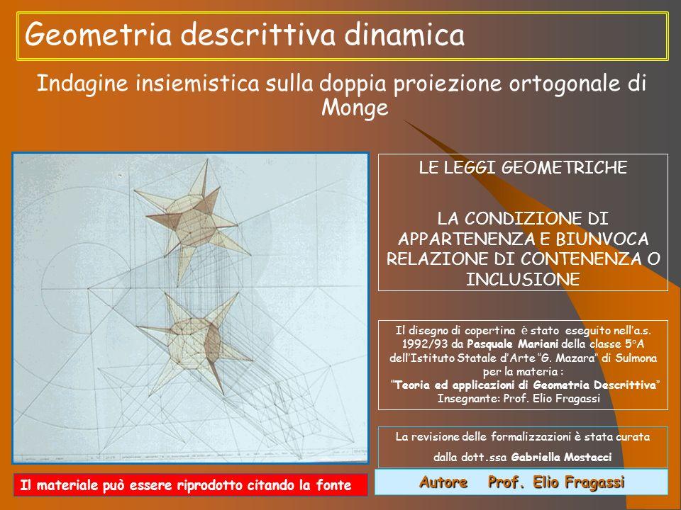 Geometria descrittiva dinamica Indagine insiemistica sulla doppia proiezione ortogonale di Monge Autore Prof. Elio Fragassi Il materiale può essere ri