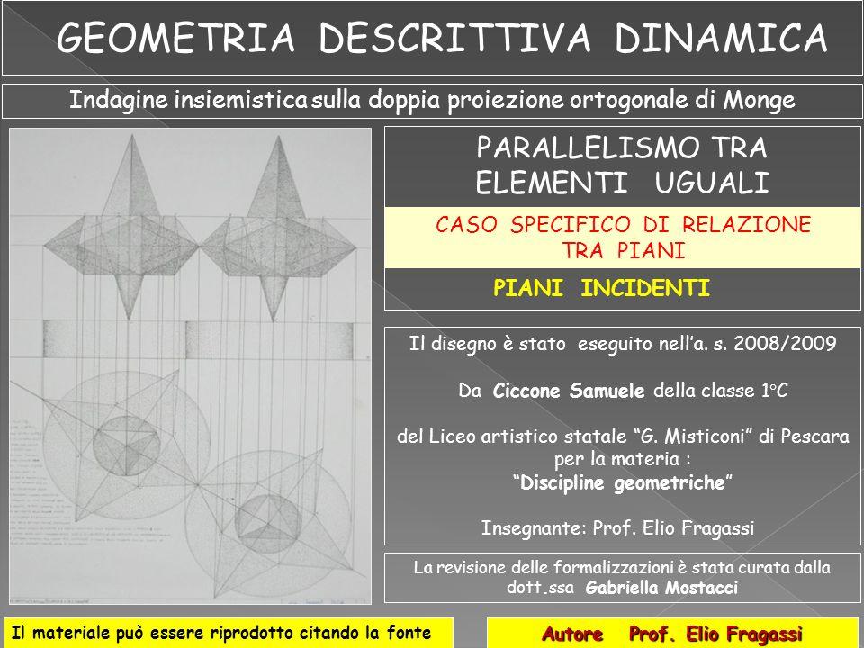 Indagine insiemistica sulla doppia proiezione ortogonale di Monge PARALLELISMO TRA ELEMENTI UGUALI Autore Prof. Elio Fragassi Il materiale può essere