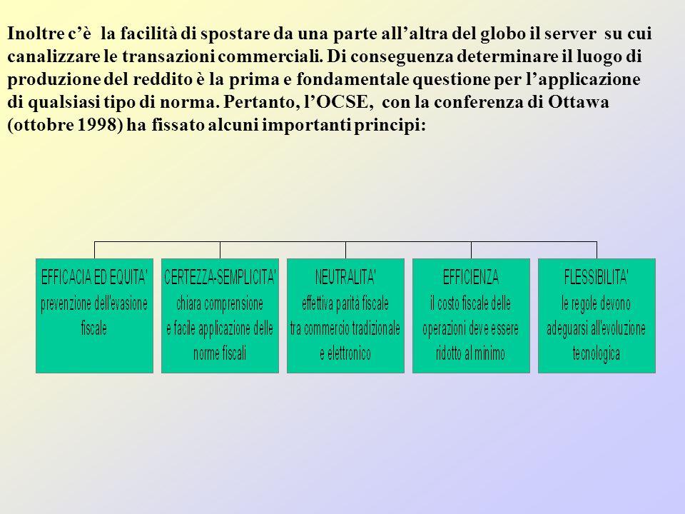Inoltre cè la facilità di spostare da una parte allaltra del globo il server su cui canalizzare le transazioni commerciali.