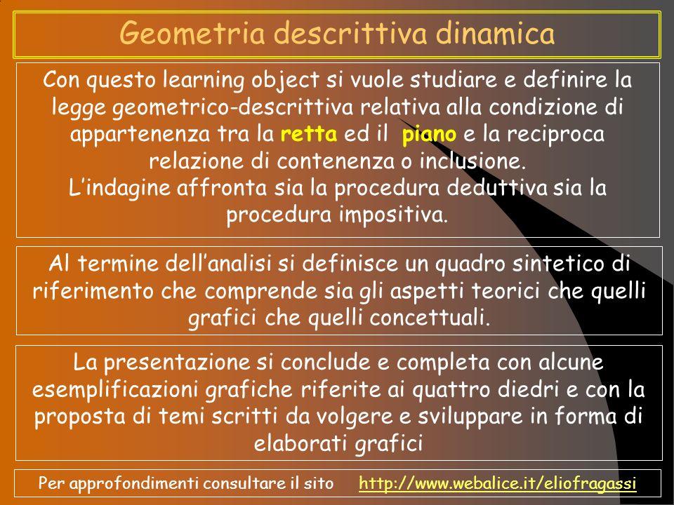 Geometria descrittiva dinamica Con questo learning object si vuole studiare e definire la legge geometrico-descrittiva relativa alla condizione di app