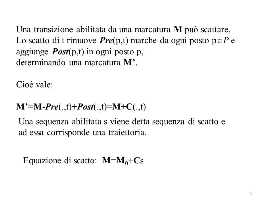 8 Modellazione con Reti di Petri Sequenzialità: gli eventi si succedono in un ordine determinato Parallelismo (concorrenza): Gli eventi possono avvenire senza un ordine determinato.