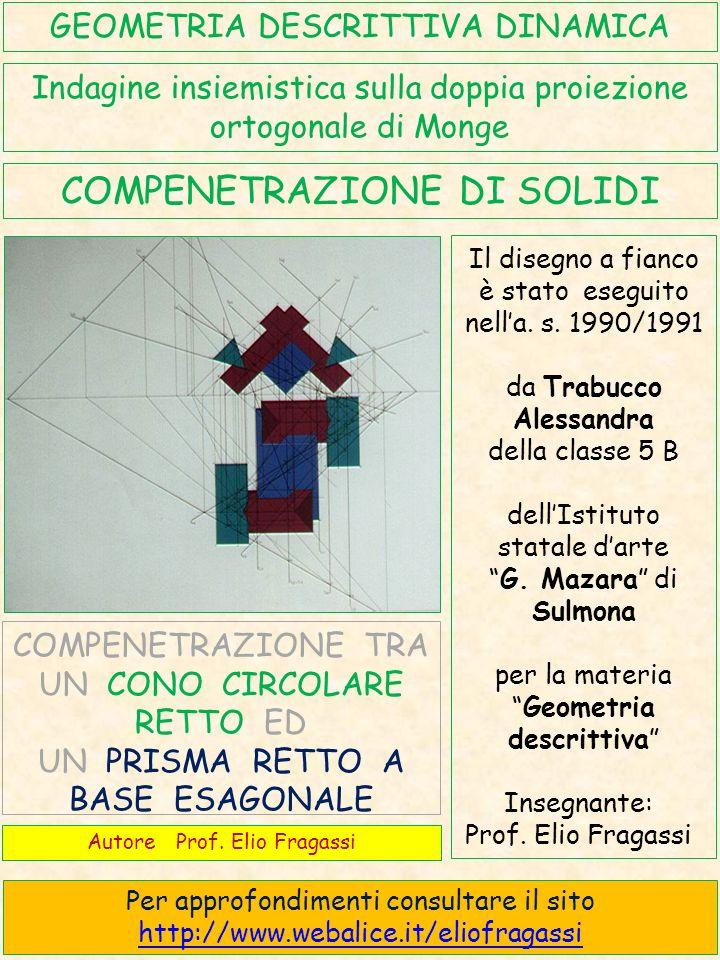 I due solidi che si compenetrano sono un prisma retto a base esagonale in colore blu ed un cono circolare retto in colore verde.